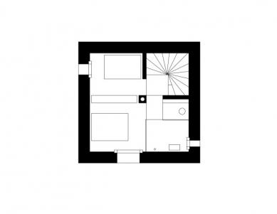Mountain Cabin - Level 2 - klidová část s ložnicemi - foto: Marte.Marte Architekten