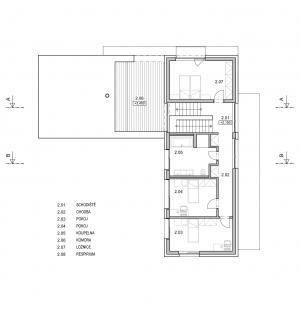 Rodinný dům se střešní terasou - Půdorys patra