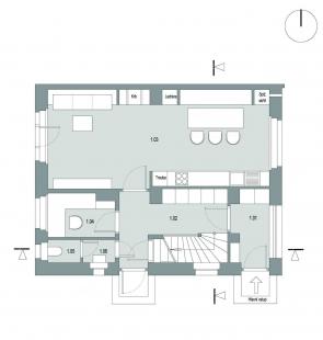 Rekonstrukce rodinného domu ve Strašnicích - Půdorys 1NP