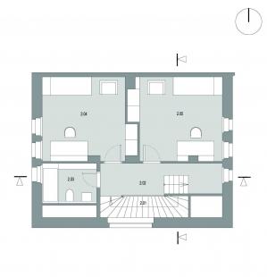Rekonstrukce rodinného domu ve Strašnicích - Půdorys 2NP