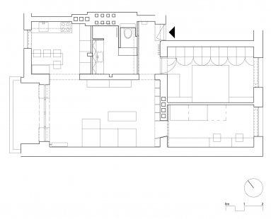 Interiér BYTU 3+1 v Brně, CHICAGO - Půdorys - současný stav