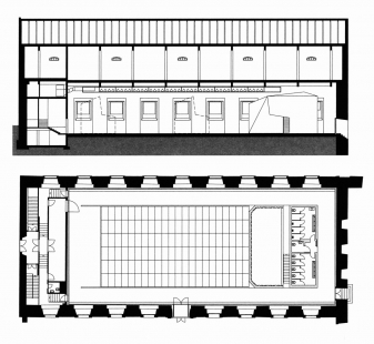 Jízdárna - multifunkční sál v Litomyšli - Půdorys a podélný řez - foto: HŠH architekti