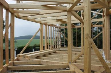 Rodinný dům Peršan - nosný skelet dřevostavby