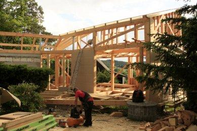 Rodinný dům Peršan - záklop stěn dřevovláknitými deskami