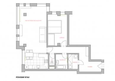 Úprava bytu v novostavbě, Praha-západ - Půdorys - původní stav
