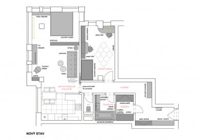 Úprava bytu v novostavbě, Praha-západ - Půdorys - nový stav