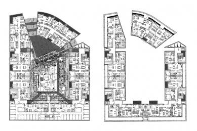Postupimské náměstí - Půdorysy bytového domu - foto: © RPBW