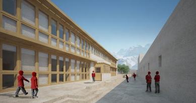 Pasivně solární, ekologický a soběstačný kampus školy v Himalájích - Vizualizace budovy ubytování