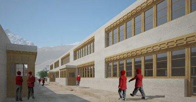 Pasivně solární, ekologický a soběstačný kampus školy v Himalájích - Vizualizace budovy tříd