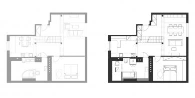 Podkrovní byt ve Strašnicích - půdorys / původní a nový stav