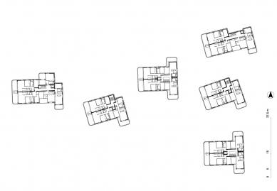 Obytný soubor Neue Seeschanze - Půdorys nadzemního podlaží - foto: Baumschlager Eberle Architekten