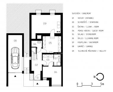 Rekonstrukce funkcionalistického rodinného domu v Brně - Půdorys 1PP