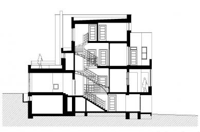 Rekonstrukce funkcionalistického rodinného domu v Brně - Řez