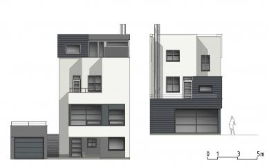 Rekonstrukce funkcionalistického rodinného domu v Brně - Pohledy západní a východní