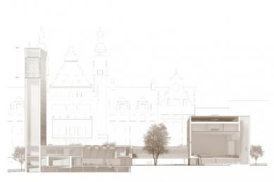 Katolický děkanský kostel sv. Trojice - Podélný řez - foto: Schulz und Schulz Architekten