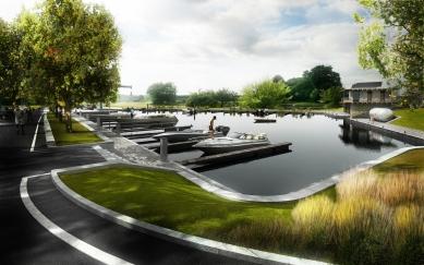 Vltavská vodní cesta – splavnění - Kapitanát České Vrbné - foto: vizualizace Jan Cyrany