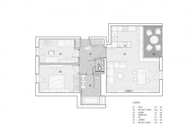 Interiér bytu v Brně - Půdorys bytu - foto: SENAA Architekti