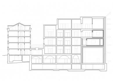 Jazz Campus - Podélný řez - foto: Buol & Zünd Architekten