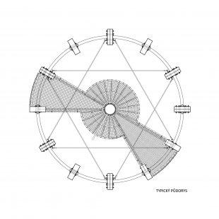 Rozhledna Kelčský Javorník - Půdorys - typické podlaží