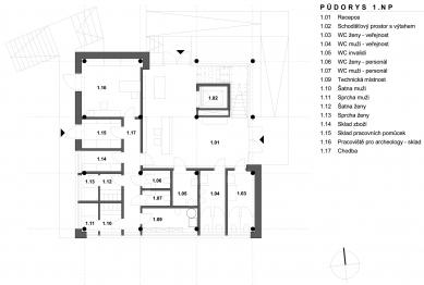 Archeopark Chotěbuz – vstupní objekt - Půdorys 1NP