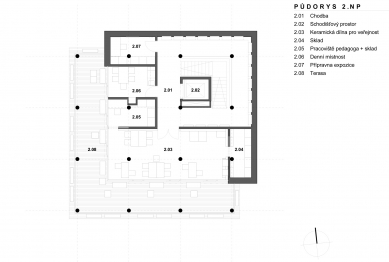 Archeopark Chotěbuz – vstupní objekt - Půdorys 2NP