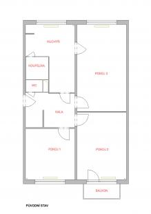 Rekonstrukce panelákového bytu - Půdorys - původní stav