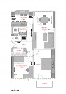 Rekonstrukce panelákového bytu - Půdorys - současný stav