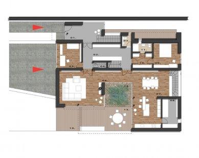 Rodinný dům Točná - Půdorys přízemí - foto: Qarta Architektura