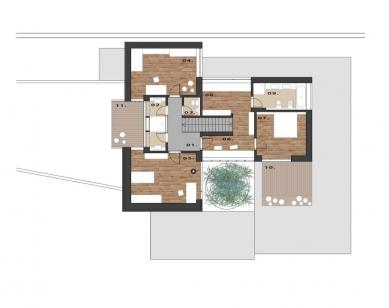 Rodinný dům Točná - Půdorys patra - foto: Qarta Architektura