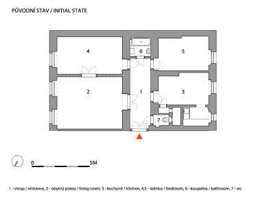 Novoměstský byt - Půdorys - původní stav