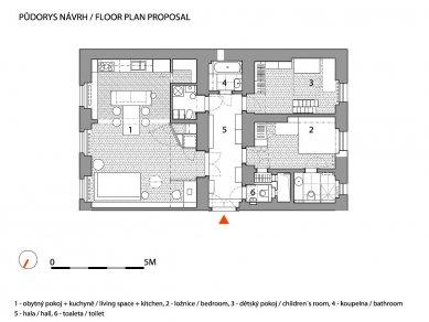 Novoměstský byt - Půdorys - současný stav