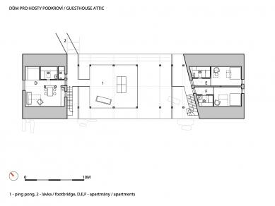 Usedlost Maneschowitz - Dům pro hosty - půdorys podkroví