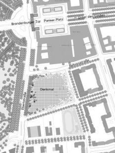Holocaust-Mahnmal - pomník všem v Evropě zavražděným Židům - Urbanistický plán areálu památníku s přilehlými stavbami v okolí, 2004 - foto: © Senatsverwaltung für Stadtentwicklung, Berlin