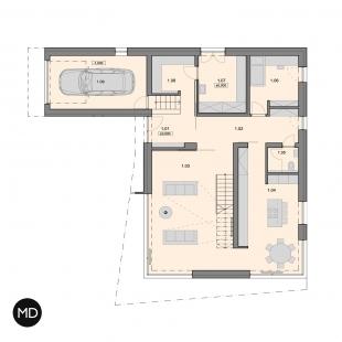 Rodinný dům s výhledem v Berouně - Půdorys přízemí - foto: Master Design s.r.o.