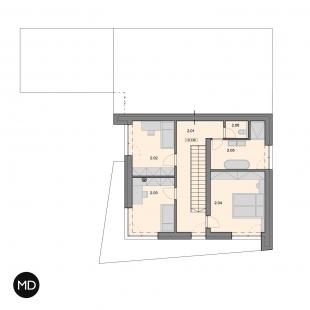 Rodinný dům s výhledem v Berouně - Půdorys patra - foto: Master Design s.r.o.
