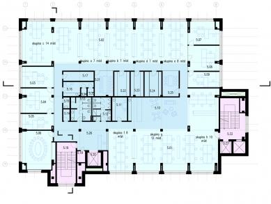 Verona offices -  refurbishment - Půdorys 5NP