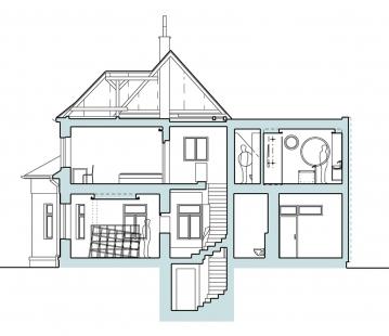Rekonstrukce rodinného domu v Pardubicích - Řez - foto: Mixage, s.r.o.