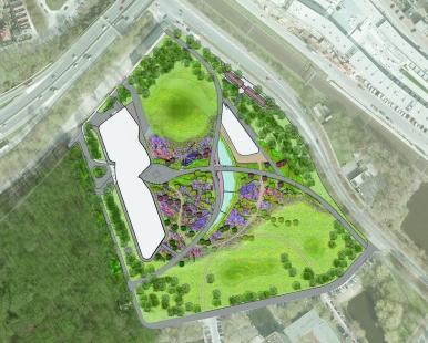 Pavilion, Garden and Underground Car Park - půdorys / plan
