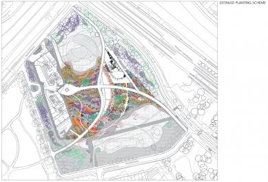 Pavilion, Garden and Underground Car Park - detailní schéma výsadby / detailed planting scheme