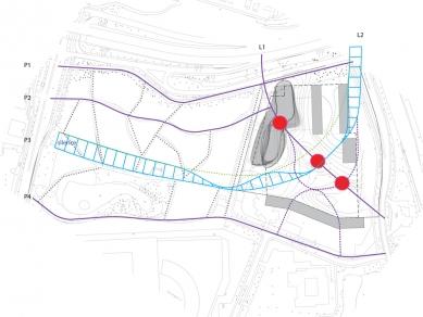 Pavilion, Garden and Underground Car Park - schema - zvuk / sound diagram