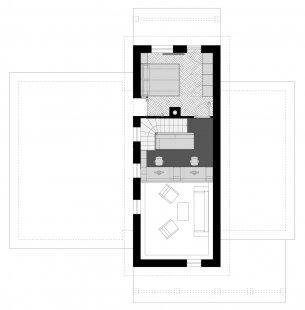 Úprava interiéru s vloženou pracovnou - Půdorys patra - foto: Prokš Přikryl architekti