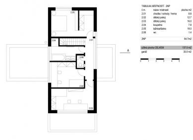 Rodinný dům Středokluky - Půdorys patra