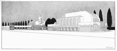 Sokolovna v Holicích - Divadelní budova, lázně a tělocvična v Holicích - perspektiva - foto: Styl II, roč. 1910, str. 140