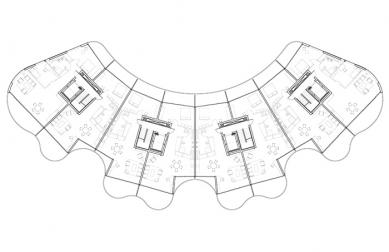 Bytový dům Metropolis - Půdorys typického podlaží - foto: Future Systems