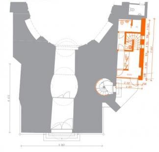 Rekonstrukce Bílé věže v Hradci Králové - Půdorys 1.np - foto: achitekti chmelík & partneři