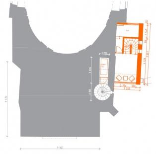 Rekonstrukce Bílé věže v Hradci Králové - Půdorys 2.np - foto: achitekti chmelík & partneři