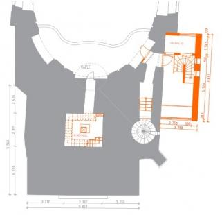 Rekonstrukce Bílé věže v Hradci Králové - Půdorys 3.np - foto: achitekti chmelík & partneři