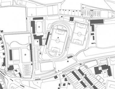 Tribuna městského stadionu Černá hora - Situace - foto: © architektonická kancelář Burian - Křivinka