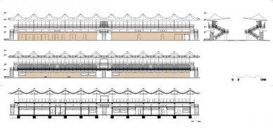 Tribuna městského stadionu Černá hora - Pohledy a řezy - foto: © architektonická kancelář Burian - Křivinka