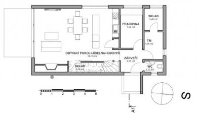 Rodinný dům v Rožmitále pod Třemšínem - Půdorys 1NP